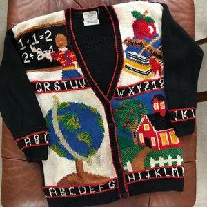 School Teacher Cardigan Sweater Apple ABC MEDIUM
